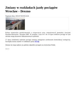 Zmiany w rozkładach jazdy pociągów Wrocław