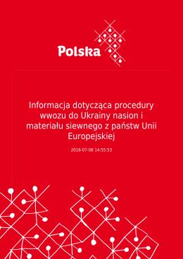 Informacja dotycząca procedury wwozu do Ukrainy nasion i