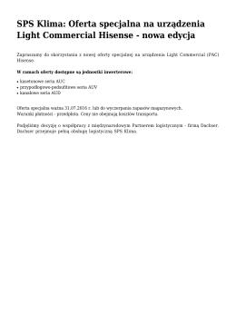 SPS Klima: Oferta specjalna na urządzenia Light