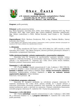 Zápisnica z IV. riadneho zasadnutia OZ zo dňa 23. 06. 2016