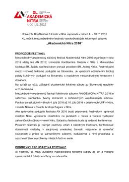 propozície festivalu - Akademická Nitra 2016