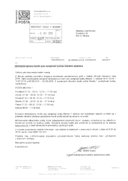 Slovenská pošta oznamuje