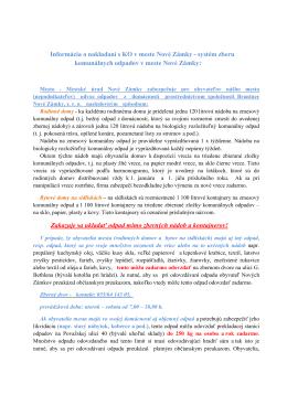 Informácia o nakladaní s komunálnym odpadom v meste Nové Zámky