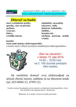 Zber elektroodpadu 2016-07