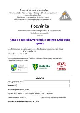 Pozvánka - Regionálne centrum autistov Žilina