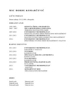 detaljna biografija - Univerzitet Metropolitan