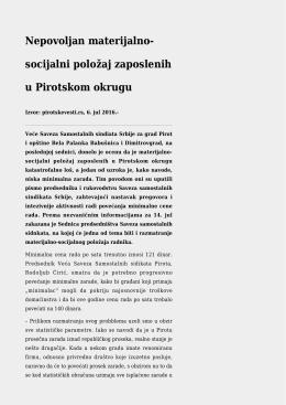 Nepovoljan materijalno-socijalni položaj zaposlenih u Pirotskom