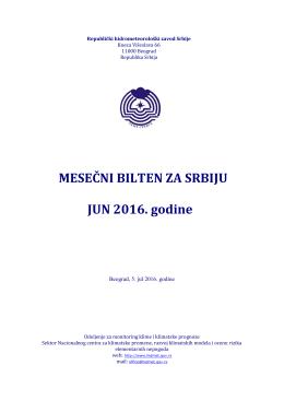 MESEČNI BILTEN ZA SRBIJU JUN 2016. godine