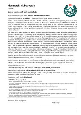 PK Javorak PN - Najava akcije