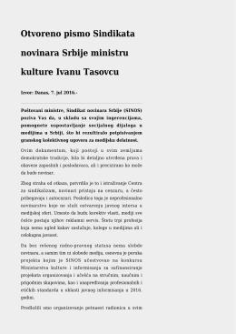 Otvoreno pismo Sindikata novinara Srbije ministru kulture Ivanu