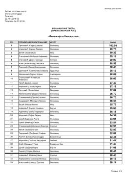 Коначна ранг листа – Финансије и банкарство