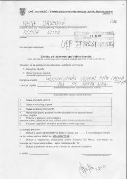 Zahtjev za upotrebnu dozvolu - Sekretarijat za uređenje prostora i