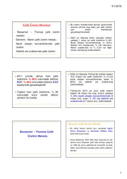 Çelik Üretim Metotları Bessemer – Thomas Çelik Üretimi Metodu