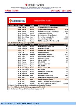 Piyasa Takvimi 04-08 Temmuz 2016