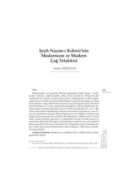 Şeyh Nazım-ı Kıbrısî`nin Modernizm ve Modern Çağ