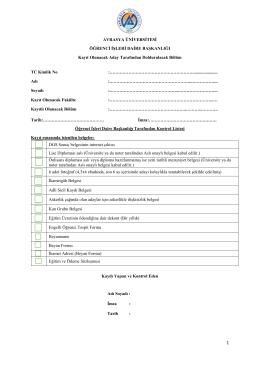 DGS Başvuru ve Kayıt Dosyası Kapak Formu