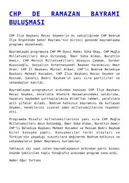 CHP DE RAMAZAN BAYRAMI BULUŞMASI