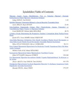 İçindekiler/Table of Contents