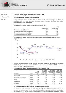 Yurt İçi Üretici Fiyat Endeksi-(Haziran 2016