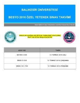 balıkesir üniversitesi besyo 2016 özel yetenek sınav takvimi
