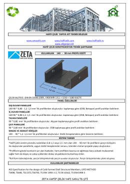 ZETA Hafif Çelik Yapılar / Teknik Şartname