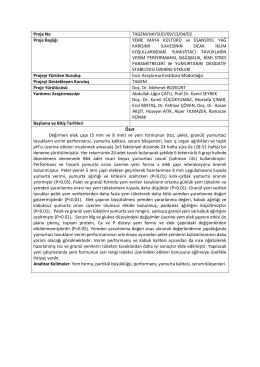 Proje No TAGEM/HAYSÜD/09/13/04/02 Proje Başlığı YEME MAYA