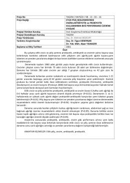 Proje No TAGEM / HAYSÜD / 98 - 13