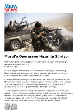 Musul`a Operasyon Hazırlığı Sürüyor