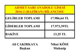 GELİRLER TOPLAMI 17.986,64 TL GİDERLER TOPLAMI 17.973