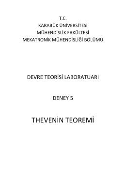 thevenin teoremi - Mühendislik Fakültesi