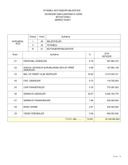 ekonomik sınıflandırmaya göre bütçe icmali