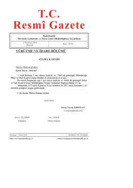 Maliye Bakanlığına Ait Atama Kararı
