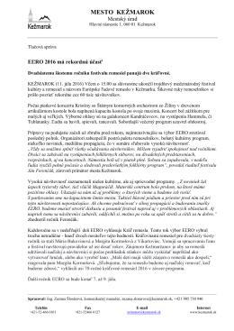 Tlačová správa EĽRO 2016 - Európske ľudové remeslo