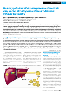 Homozygotná familiárna hypercholesterolémia a jej liečba
