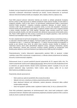 Európsky úrad pre bezpečnosť potravín EFSA spúšťa verejné