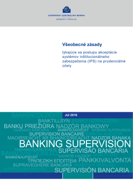 na prudenciálne účely - Banking Supervision