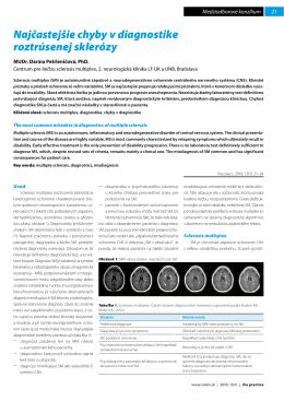 Najčastejšie chyby v diagnostike roztrúsenej sklerózy