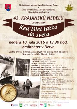 plagát 43. krajanskej nedele - Úrad pre Slovákov žijúcich v zahraničí
