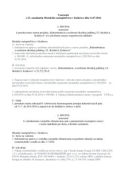 Uznesenie z 23. zasadnutia Mestského zastupiteľstva v