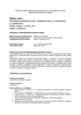 Číslo výberu: V 2016_07 - Úrad pre verejné obstarávanie