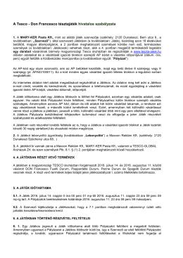 Játékszabályzatot - Tesco - Don Francesco