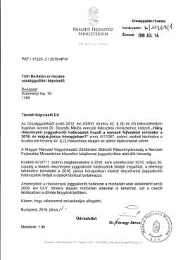 PKF / 17229- 3 / 2016-NFM Tóth Bertalan úr részér e