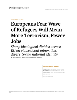 Europeans Fear Wave of Refugees Will Mean More Terrorism