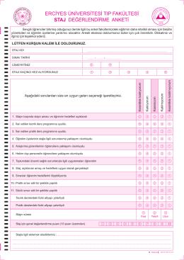 erciyes üniversitesi tıp fakültesi staj değerlendirme anketi