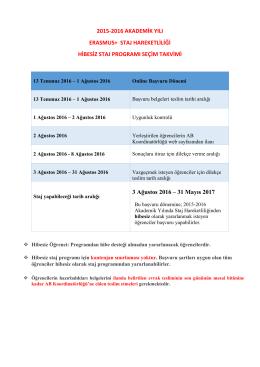 2015-2016 Akademik Yılı Erasmus+ Staj Hareketliliği 3. Hibesiz