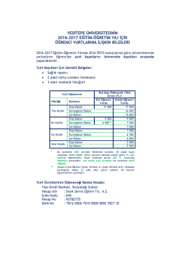 2016-2017 Yeditepe Yurt Bilgileri