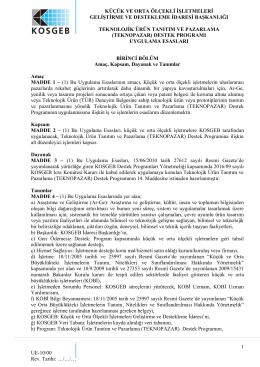 Teknopazar Destek Programı Uygulama Esasları