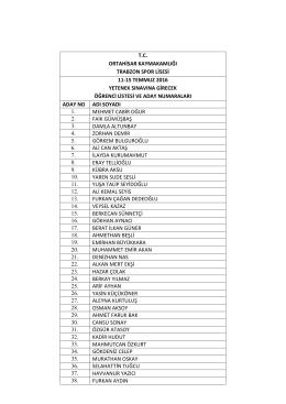 Yetenek Sınavına Gireceklerin Aday Numaralarını Gösteren Liste