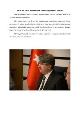 SGK` da Tıbbi Malzemeler Sektör Toplantısı Yapıldı Tıbbi