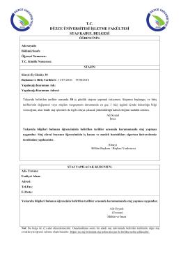 tc düzce üniversitesi işletme fakültesi staj kabul belgesi
